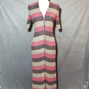 Zara Italian Yarn Metallic Knit Maxi Dress